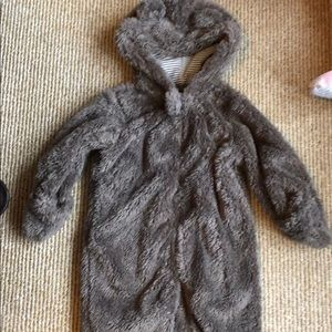 Carter's full zip hooded Sherpa bunting 9 month